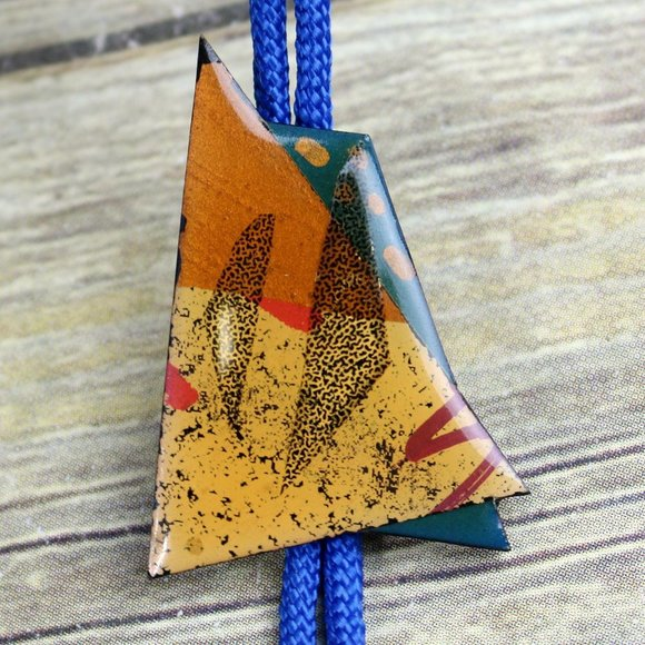 Abstract Art Bolo Tie OOAK Artist Signed Collage